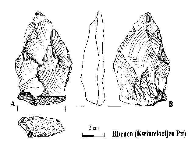 A bifacial core-like artefact of the Rhenen Industry (Kwintelooijen sandpit, Rhenen), knapped in an inadequate way, probably by an advanced pupil. Drawing by L. Johansen.